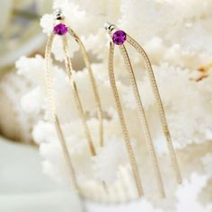 Fuchsia Crystal Gold Chain Earrings Long
