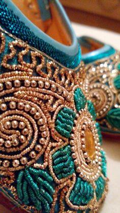 Punjabi Jutti , Indian Shoes Sequins Blue