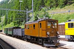 RhB G/E 2/4 222 1'B1' AC Electric locomotive at Bergun in Switzerland