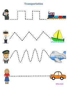 Transportation Line Trace Transportation Preschool Activities, Fall Preschool Activities, Preschool Writing, Transportation Theme, Preschool Learning, In Kindergarten, Toddler Activities, Kids Math Worksheets, Tracing Worksheets