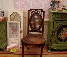 Antiqued Neoclassical French Caned Chair ~ 1:12th Scale Dollhouse Miniature Furniture
