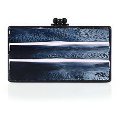 Edie Parker Jean Paneled Stripe Clutch ($1,365) ❤ liked on Polyvore featuring bags, handbags, clutches, apparel & accessories, navy, blue handbags, kiss-lock handbags, evening purse, evening clutches and navy blue purse