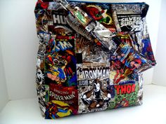 Large  Bag  Made of Marvel Comics / Super Hero Fabric by fromnancy, $59.00