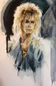 """My incredibly '80s David Bowie """"Labyrinth"""" watercolor."""