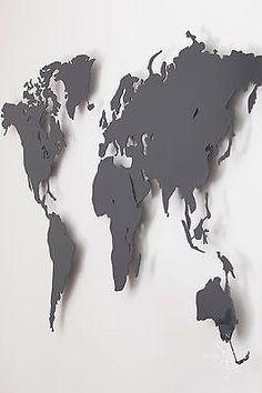 Weltkarte aus Stahl Anthrazitgrau pulverbeschichtet Wanddeko (Magnettafel)