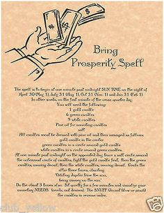 BRING PROSPERITY Real Witchcraft Spell Book of Shadows Page BOS Pages Wicca