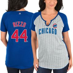 Anthony Rizzo Chicago Cubs Majestic Women s From the Stretch Pinstripe Name    Number T-Shirt d59c011194b