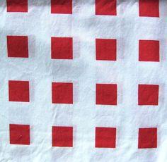 Vintage Cotton Yardage - Red Squares on White -  Light Weight Yardage on Etsy, $16.00
