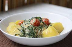 Kartoffeln mit Rucola und Spinat