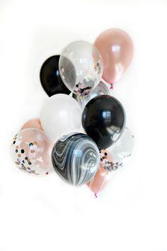 Items similar to Confetti Balloon Set – Neapolitan Swirl – Black, White and Rose Gold Balloon Bouquet – Marble Balloon Set on Etsy – Marble Decoration Birthday Roses, Gold Birthday Party, Gold Party, 30th Birthday, Birthday Ideas, Black And White Balloons, Black And White Marble, Black Gold, Clear Balloons With Confetti