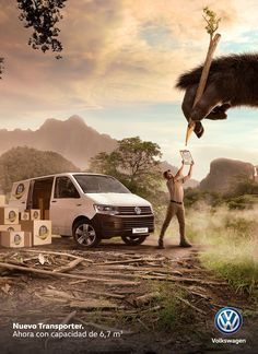 Kong/Optimus - Volkswagen Transporter on Behance Ads Creative, Creative Posters, Creative Advertising, Advertising Design, Volkswagen Transporter, Vw Bus, Funny Photoshop, Photoshop Design, Photoshop Tips