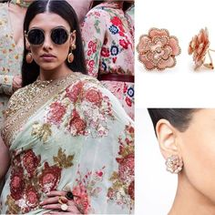 Our Monday morning inspiration comes from renowned Indian designer @sabyasachiofficial. This #sari from his latest collection has been matched with @maharanijewels exquisite pink she'll and diamond floral earrings which makes the perfect spring look! Please see link in bio for additional details.   And visit our BRAND NEW online store at http://ift.tt/1PGEhDc to view all our latest fine jewelry collections. We ship worldwide!  Or book an appointment at our Vancouver boutique via email…