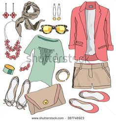 Casual women clothes collection. Decorative clothes. Clothes icon. Sketch clothes. Set clothes. Fashion clothes. Clothes outfit. Summer clothes. Clothes element. Vector clothes illustration top view.