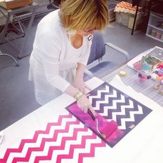 Pattie makes a pattern with a Tulip for your Home chevron stencil! Chevron Stencil, Picnic Blanket, Outdoor Blanket, Upcycled Furniture, Fabric Painting, Tulip, Diy Home Decor, Stencils, Cricut