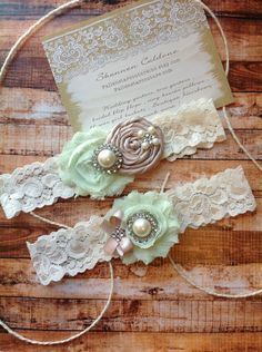 wedding garter / bridal  garter/  lace garter / toss garter INCLUDED  - taupe rosettes, mint chiffon , ivory lace and ivory  stone. $24.99, via Etsy.