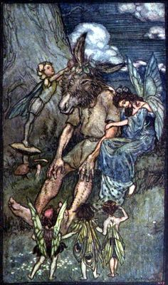 Arthur Rackham ~ Where is Pease-Blossom? (without border) ~ from Tales From Shakespeare by Charles and Mary Lamb ~ 1909