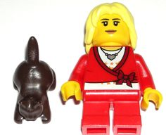LEGO City Blonde Girl Minifigure w/ Brown Kitten Red Sweater Heart Necklace Bow Brown Kitten, Lego Custom Minifigures, Lego City, Red Sweaters, Bows, Disney Characters, Heart, Arches, Bowties