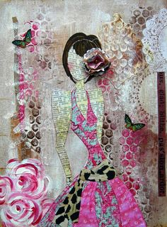 Great Collage from Julie Nutting. I love the idea of drawing and painting on a newspaper background.