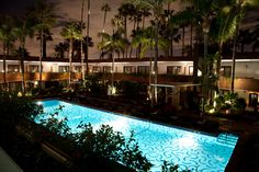 All lit up. The Tropicana Bar and Pool at the Hollywood Roosevelt in Los Angeles