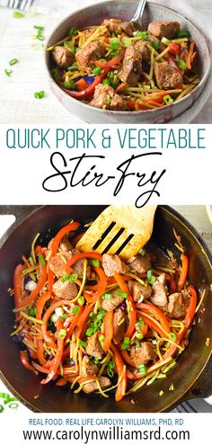 How about a stir-fry with almost no chopping? Quick Pork & Vegetable Stir-Fry uses a bag of fresh broccoli slaw and an easy hoisin-lime-sesame oil sauce to keep total time to just 10 minutes. Chicken Stir Fry Sauce, Pork Stir Fry, Pork Broccoli, Fresh Broccoli, Cauliflower Stir Fry, Riced Cauliflower, Easy Vegetable Stir Fry, Real Food Recipes, Healthy Recipes