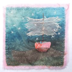Image of Sea dance Hand Embroidery Designs, Embroidery Art, Embroidery Patterns, Sewing Art, Sewing Crafts, Creative Textiles, Fabric Postcards, Textile Fiber Art, Thread Painting