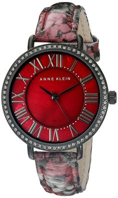 Anne Klein Women's AK/1617BMBY Swarovski Crystal Accented Burgundy Snake Patterned Leather Strap Watch ** Click image to review more details.