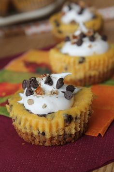 Chocolate Chip Pumpkin Cheesecake Bites on MyRecipeMagic.com