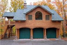 Probably more complicated of a roof than you'd like to deal with yourself? Garage Apartment Plans, Garage Apartments, Garage Plans, Shed Plans, Garage Ideas, Pole Barn Garage, Pole Barn Homes, Timber Garage, Garage Studio