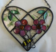 LEADED STAINED GLASS HEART/PINK 3 D DESERT ROSE FLOWERS/BUMBLE BEE
