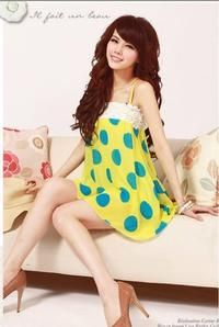 Yellow Cute Summer Straps Big Dots Dress With Fashion Lace Korean Summer