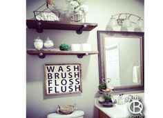 Wash Brush Floss Flush Framed Wood Sign - QueenBHome