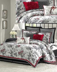 "Winter RoseA woven, classic toile with accents of scarlet, green and gold create a beautiful cottage look. The floral filled duvet and shams are accented with flanges of black and white check and scarlet piping. The Euro shams and the adjustable bed skirt are made with a combination of black faux-linen and the woven black and white check pattern. Three beautifully detailed pillows complete this ensemble.Includes 3 decorative pillows: 18"" x 18"" red; 18"" x 18"" black/off-white; 12"" x 20"