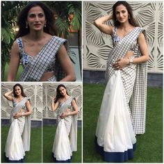 Not a fan of the half and half sari but I luv the look of this one..the navy border on the white ,the checks..