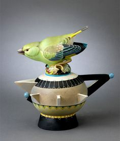 Greenfinch porcelain teapot by Annette Corcoran