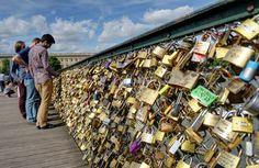 Love Locks. In the City of San Diego, CA: on the Cabrillo Bridge in Balboa Park.