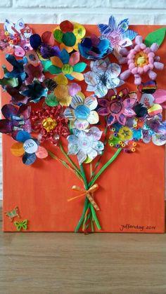 Juffendag; de leukste bedankjes voor de juf of meester Flower Crafts, Flower Art, Nanny Gifts, Paper Plate Crafts, Paper Plates, Work Gifts, Crayon Art, Creative Kids, Spring Crafts
