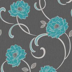 Fine Decor Florentina Wallpaper Charcoal / Teal / Silver cabinet & drawer pop of color