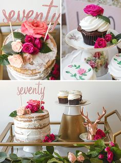 Cake and decor ideas for a whimsical 70th birthday party