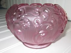 FENTON Art Glass pink frosted  - embossed Lily of the Valley Rose Bowl
