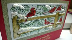 Winter cardinals handmade card, showing dimension.  I used a marker called snow marker for the snow, then puffed it up with a heat gun then added stickles on top.