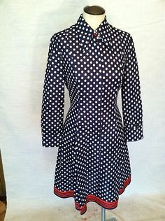 Vintage Fit and Flair Polka Dot Dress Navy with White Dots and Red Accents