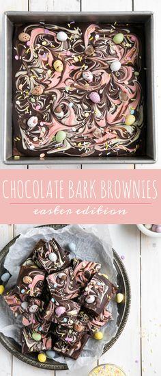 Chocolate Bark Easter Brownies via @theforkedspoon #chocolate #brownies #chocolatebark #easter #dessert #theforkedspoon via @theforkedspoon