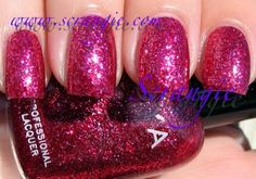 Zoya Astra. A mix of red and pale pink glitter that lies relatively flat and has great sparkle.
