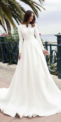 79 Beautiful Simple Wedding Gowns That Will Leave You Speechless, off the shoulder wedding dress,deep plunging neckline wedding dress,long sleeves wedding dress Simple Wedding Dress With Sleeves, Simple Wedding Gowns, Long Wedding Dresses, Long Sleeve Wedding, Simple Weddings, Bridal Dresses, Dress Wedding, Simple Dresses, Maternity Wedding