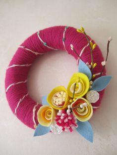 """Pink Yarn Wreath with Felt Flowers 8"""". $23,00, via Etsy."""
