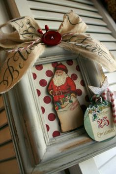 Really like this idea. DIY - Recycled Christmas cards, material/stamped burlap for background and ribbon, and frame. Easy Christmas Decorations that can be personalized to fit your decor. Vintage Christmas Crafts, Easy Christmas Decorations, Christmas Card Crafts, Christmas Frames, Christmas Goodies, Christmas Projects, Simple Christmas, Handmade Christmas, Holiday Crafts