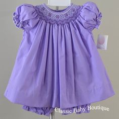 NWT Petit Ami Purple Lavender Smocked Bishop Dress 3 6 9 Months Girls Bloomer #PetitAmi #DressyEveryday
