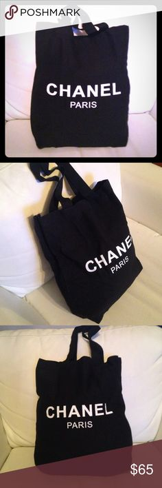 HOST PICK Chanel Canvas Shopping Tote 1 LEFT VIP Chanel Beauty Gift Tote Bag. Made of sturdy black canvas. Double sided logo. Measures about 16x14. Handles about  10 inches. I absolutely love this bag and carry mine everywhere. See my closet for more! CHANEL Bags Totes