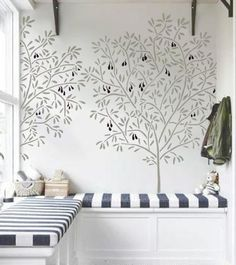 Wall Stencil - OLIVE TREE - Reusable - DIY Home Decor | OliveLeafStencils - Furnishings on ArtFire
