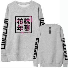 Korean Pop Kpop Bangtan Boys Album Floral Kanji Japanese Lettering Print Crewneck Sweatshirt Unisex